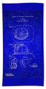Vintage 1932 Firemans Helmet Patent Beach Towel