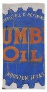 Vintage Humble Oils Sign Jefferson Texas Beach Towel
