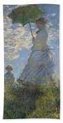 Woman With A Parasol Madame Monet And Her Son Beach Towel by Claude Monet