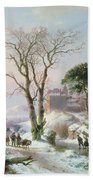 Wooded Winter River Landscape Beach Towel