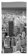0036 Chicago Skyline Black And White Beach Towel