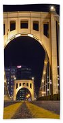 0304 Roberto Clemente Bridge Pittsburgh Beach Towel by Steve Sturgill