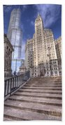 0499 Trump Tower And Wrigley Building Chicago Beach Towel