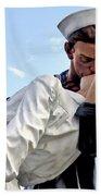 Closeup Nurse And Sailor Kissing Statue Unconditional Surrender Beach Towel