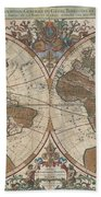 1691 Sanson Map Of The World On Hemisphere Projection Beach Towel by Paul Fearn