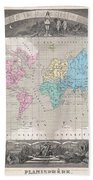 1852 Levasseur Map Of The World Beach Towel