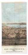 1856 Henry Bill Map And View Of San Francisco California Beach Towel