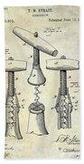 1883 Corkscrew Patent Drawing Beach Towel