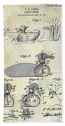 1902 Duck Decoy Patent Drawing Beach Towel