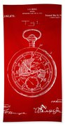 1916 Pocket Watch Patent Red Beach Towel