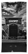 1931 Model T Ford Monochrome Beach Towel