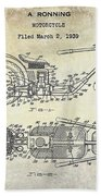 1939 Motorcycle Patent Drawing Beach Towel