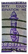1940 For Defense Stamp Beach Towel