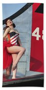 1940s Style Pin-up Girl Standing Beach Towel