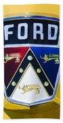 1950 Ford Custom Deluxe Station Wagon Emblem Beach Towel by Jill Reger