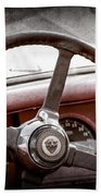 1954 Jaguar Xk120 Roadster Steering Wheel Emblem Beach Towel