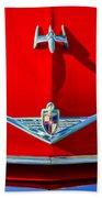 1954 Lincoln Capri Hood Ornament Beach Towel