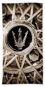 1954 Maserati A6 Gcs Wheel Rim Emblem Beach Towel
