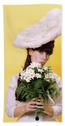 1960s Glamour Woman In White Turn Beach Sheet