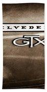 1967 Plymouth Gtx Belvedere Emblem Beach Towel