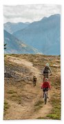 A Mother And Daughter Mountain Biking Beach Towel