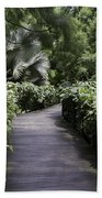 A Raised Walking Path Inside The National Orchid Garden In Singapore Beach Towel