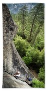 A Young Boy Climbs In Yosemite, June Beach Towel