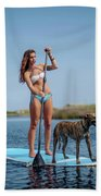 A Young Woman And Her Dog Sup Beach Towel