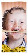 Adorable Little Boy Cooking Chocolate Easter Cake Beach Towel
