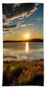 Alaskan Midnight Sun Over The Lake Beach Towel