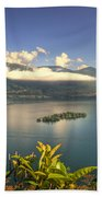 Alpine Lake With Island Beach Towel