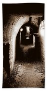 A Tunnel In The Catacombs Of Paris France Beach Towel