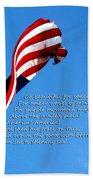 America The Beautiful - Us Flag By Sharon Cummings Song Lyrics Beach Towel