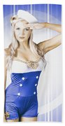 American Pinup Poster Girl In Military Uniform Beach Towel