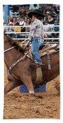 American Rodeo Female Barrel Racer White Blaze Chestnut Horse II Beach Towel by Sally Rockefeller