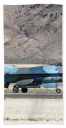 An F-16c Aggressor Jet Landing Beach Towel
