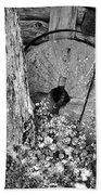 An Old Mill Stone Ely's Mill Roaring Fork Bw Beach Towel
