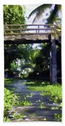 An Old Stone Bridge Over A Canal Beach Towel