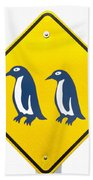 Attention Blue Penguin Crossing Road Sign Beach Towel