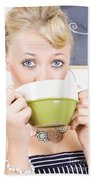 Attractive Blonde Woman Drinking Green Tea Beach Towel
