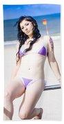 Attractive Girl On The Beach Beach Towel
