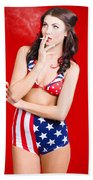 Attractive Usa Pinup Woman Smoking Beach Towel