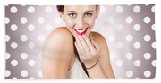 Attractive Young Retro Girl With Look Of Surprise Beach Towel
