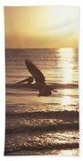 Australian Pelican Glides At Sunrise Beach Towel