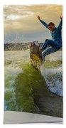 Autumn Wake Surfing Beach Towel