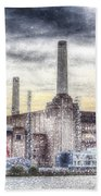 Battersea Power Station London Snow Beach Towel