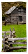 Beautiful Autumn Scene Showing Rustic Old Log Cabin Surrounded B Beach Towel