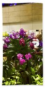 Beautiful Flowers Inside The Changi Airport In Singapore Beach Towel