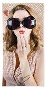 Beautiful Surprised Girl Wearing Big Sunglasses Beach Towel
