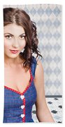 Beautiful Young Brunette Pin-up Woman  Beach Towel